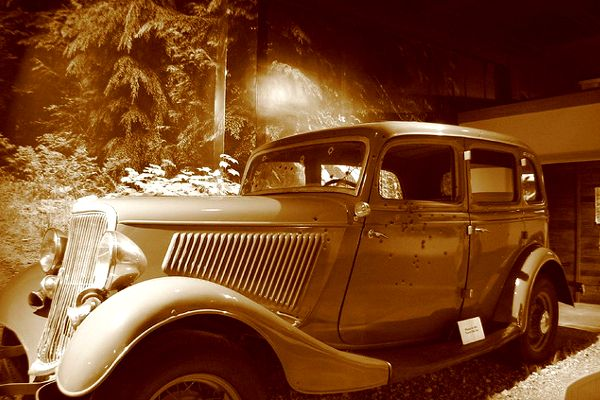Bonnie & Clyde were ambushed and killed in their car.